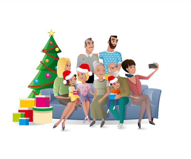 Famille selfie au vecteur de dessin animé de fête de noël