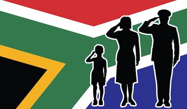 La famille de soldat de l'afrique du sud salue le fond de patriote