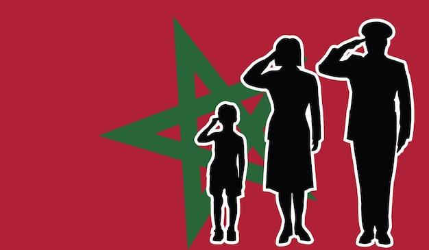 La famille de soldat du maroc salue le fond de patriote