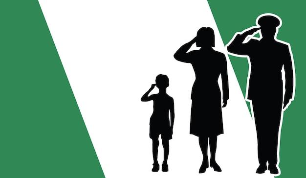 La famille de soldat du nigeria salue l'arrière-plan patriote