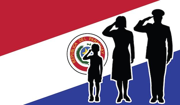 La famille de soldat du paraguay salue le fond de patriote