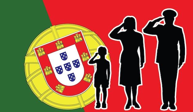 La famille de soldat du portugal salue le fond de patriote