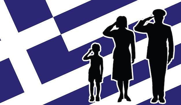 La famille de soldat de la grèce salue le fond de patriote