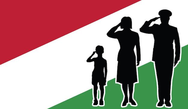 La famille de soldat de la hongrie salue le fond de patriote