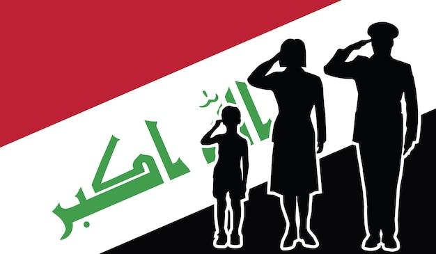 La famille de soldat de l'irak salue le fond de patriote