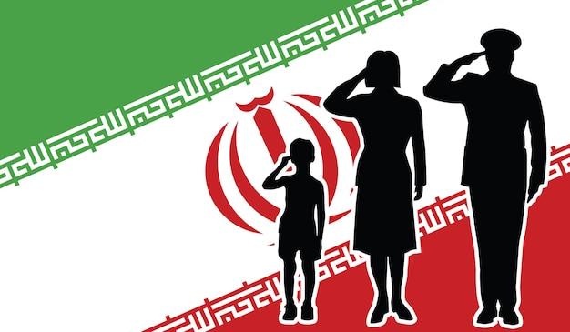La famille de soldat iranien salue l'arrière-plan patriote