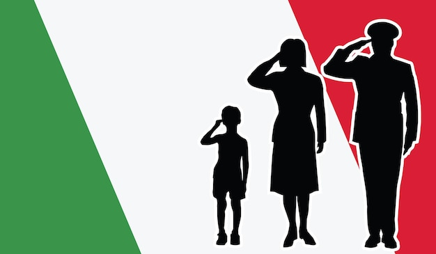 La famille de soldat de l'italie salue le fond de patriote