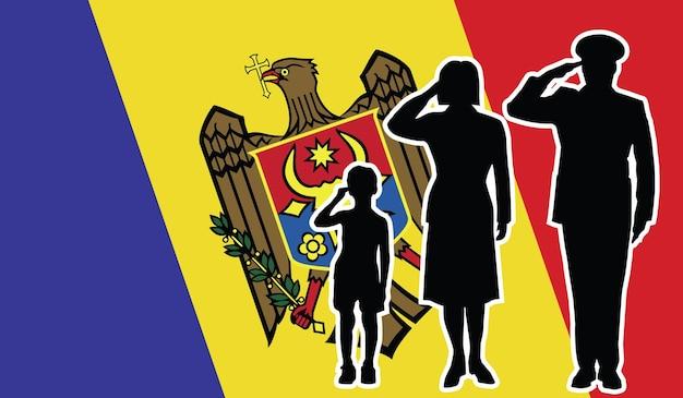 La famille de soldat de la moldavie salue le fond de patriote