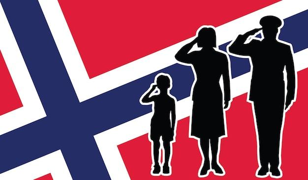 La famille de soldat de la norvège salue le fond de patriote