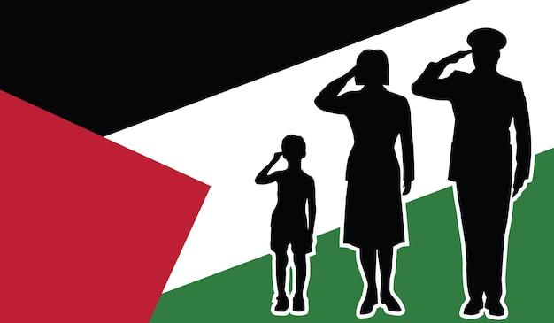 La famille de soldat de palestine salue le fond de patriote