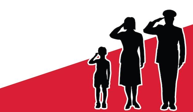 La famille de soldat de la pologne salue le fond de patriote
