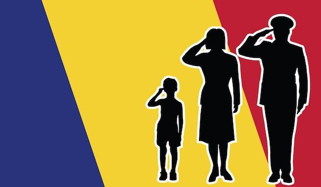 La famille de soldat de la roumanie salue le fond de patriote