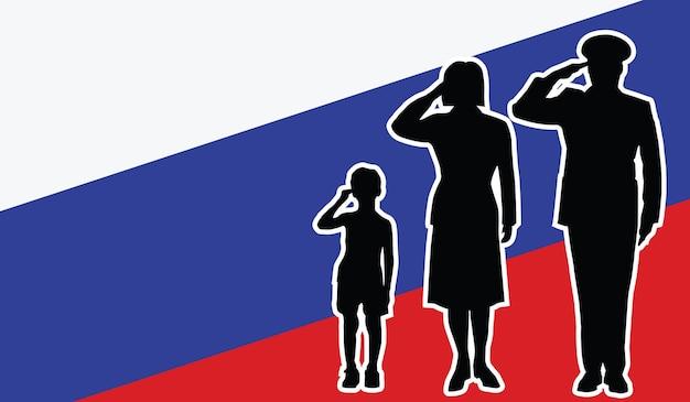 La famille de soldat de la russie salue le fond de patriote