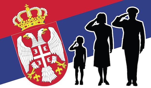 La famille de soldat de la serbie salue le fond de patriote