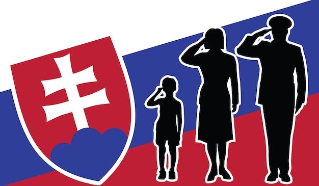 La famille de soldat de la slovaquie salue le fond de patriote