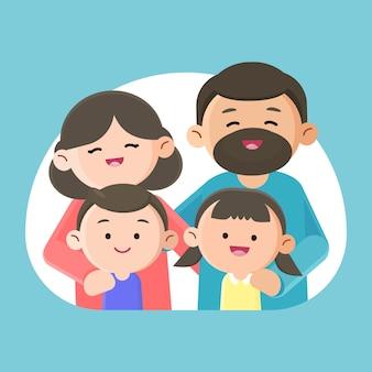 Famille souriant joyeusement ensemble