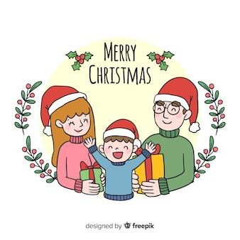 Famille souriante fond de noël