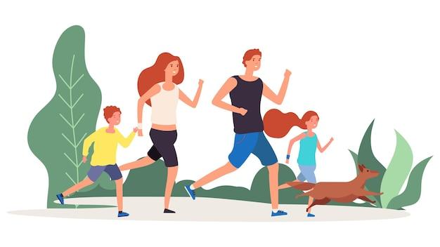 Famille de sport. parents enfants courent dans le parc