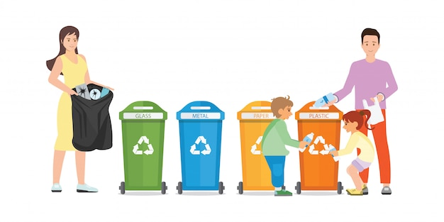 Famille tri des ordures dans le collecteur d'ordures sur fond blanc.