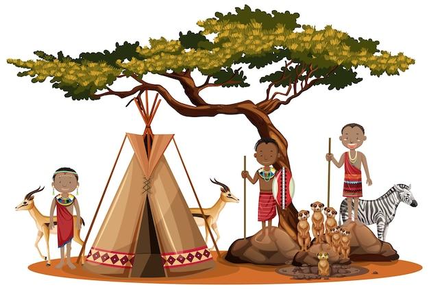Famille de tribus africaines isolée sur blanc