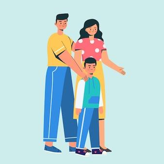 Famille de trois ensemble