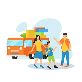 La famille va voyager en voiture