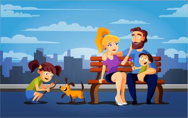 Famille vacances actives parents enfants et chien dans le parc d'été