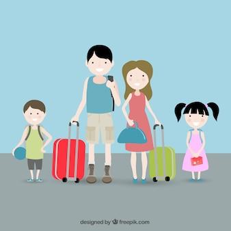 Famille avec des valises