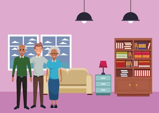 Famille vieux parents avec un fils adulte souriant
