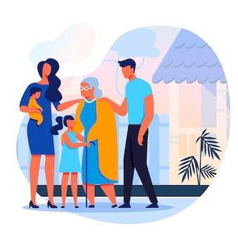 Famille visites grand-mère plat