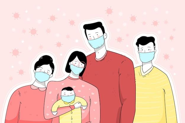 Famille vivant ensemble dans la maison