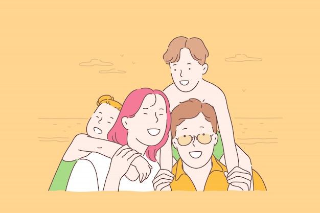 Famille, voyage, ensemble, concept d'enfance