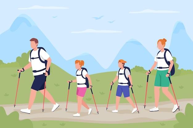 Famille en voyage de trekking à plat. les routards explorant le sentier en forêt. activité de loisirs de plein air.
