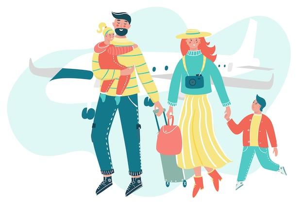 Famille voyageant avec bagages et avion en toile de fond.