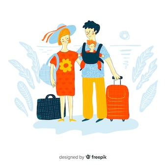 Famille voyageant conception dessinée à la main