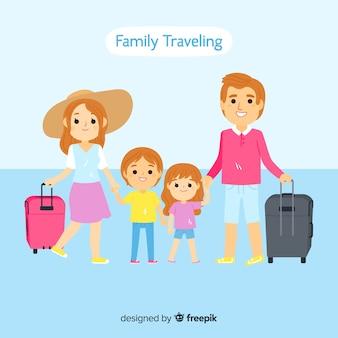 Famille voyageant ensemble de fond