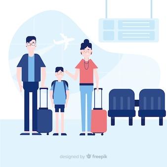 Famille voyageant fond