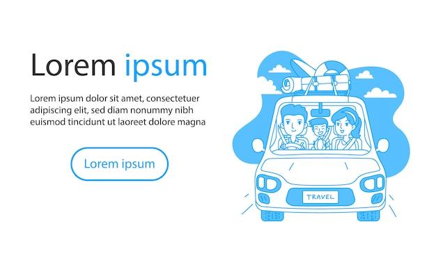 Famille voyageant en voiture contour illustration vectorielle dessin animé
