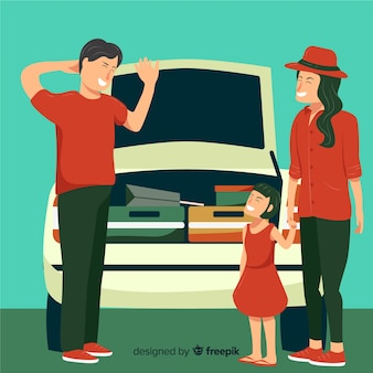 Famille voyageant