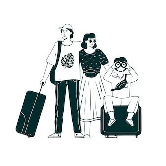 Famille de voyageurs monochromes dessinés à la main.