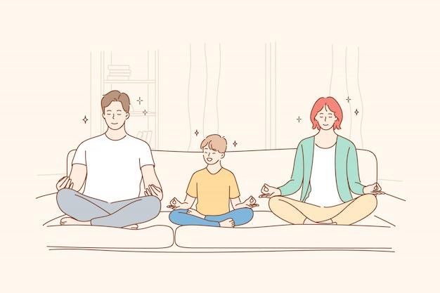 Famille, yoga, méditation, méthode maternelle, enfance, concept de paternité