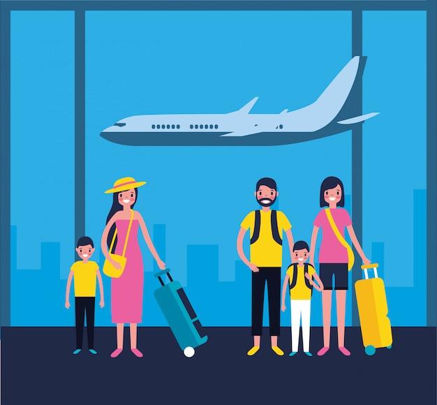 Familles à l'aéroport