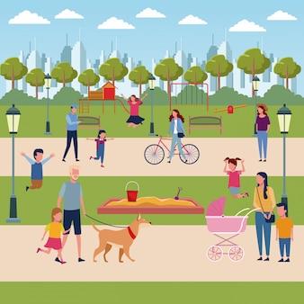 Familles dans le parc