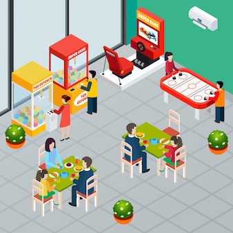 Familles avec enfants en train de déjeuner et de jouer à des machines de jeu 3d isométrique