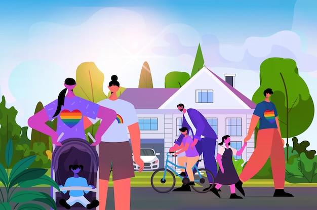 Les familles lesbiennes gaies marchant avec les enfants transgenres aiment l'illustration vectorielle horizontale du concept de communauté lgbt