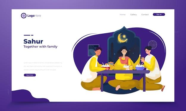 Les familles musulmanes heureuses mangent tôt pour l'illustration du ramadan sahur