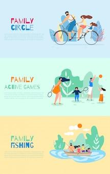 Family cycle active jeux vecteur de pêche en famille