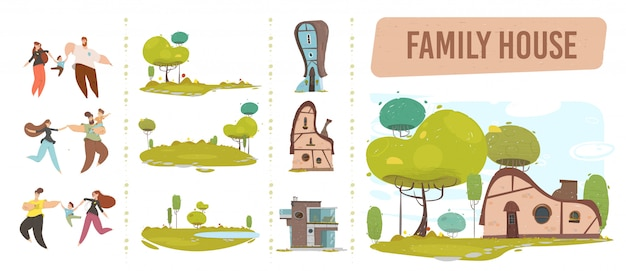Family house, happy people et nature craft set