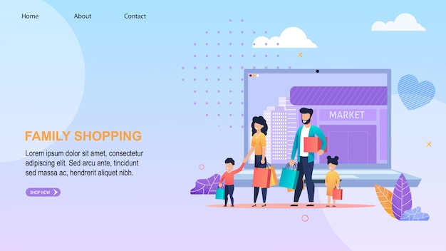 Family shopping online lettering landing page.
