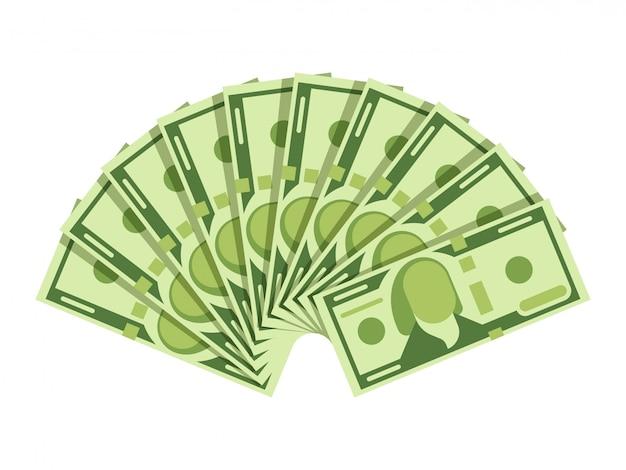 Fan de billets en dollars. billets de caisse en monnaie verte. concept de vecteur d'investissement